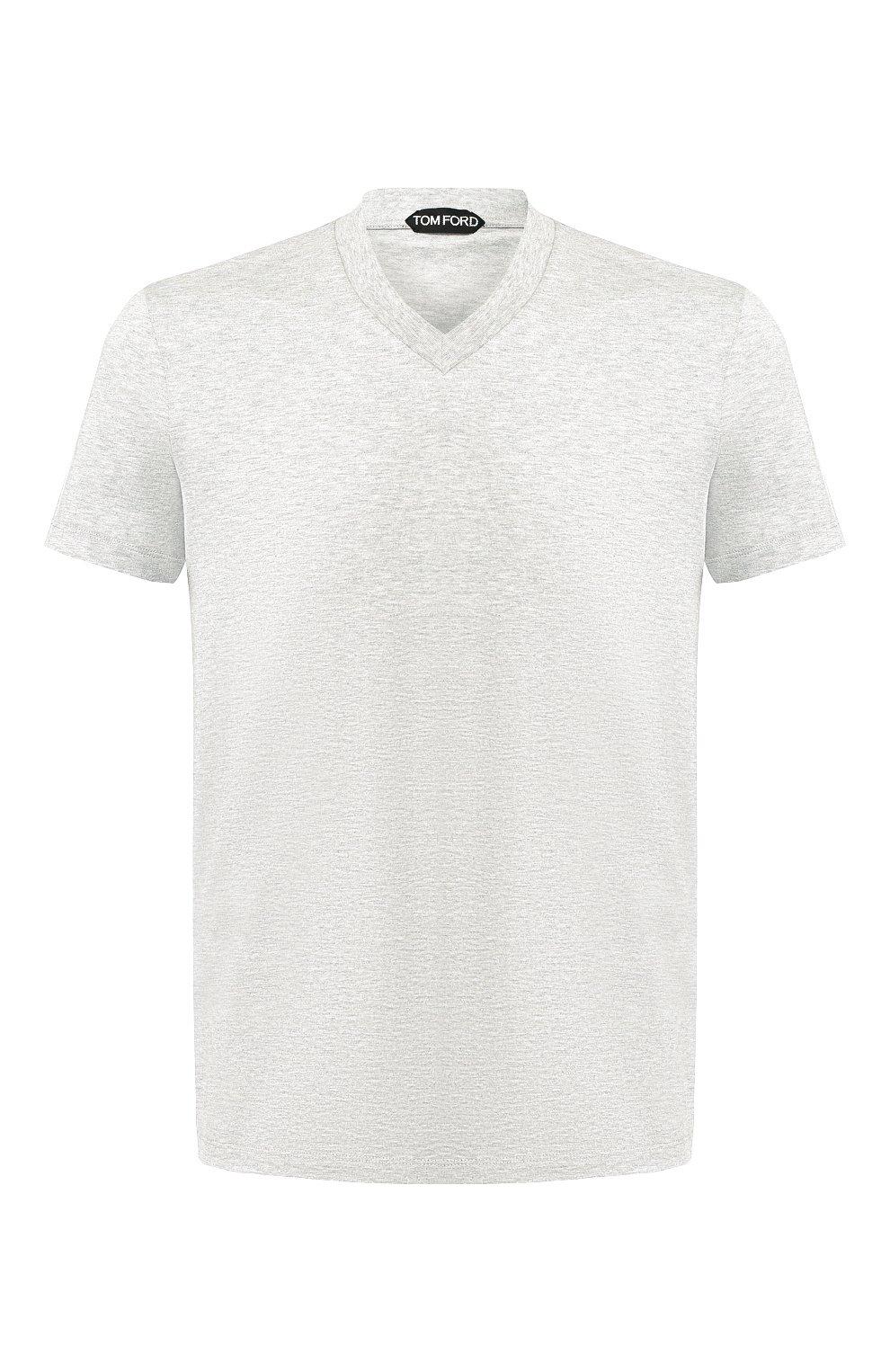 Мужская хлопковая футболка с v-образным вырезом TOM FORD серого цвета, арт. BR238/TFJ927 | Фото 1