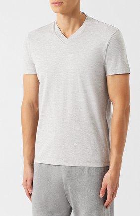 Мужская хлопковая футболка с v-образным вырезом TOM FORD серого цвета, арт. BR238/TFJ927 | Фото 3