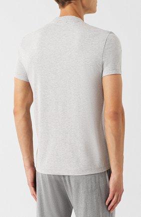 Мужская хлопковая футболка с v-образным вырезом TOM FORD серого цвета, арт. BR238/TFJ927 | Фото 4