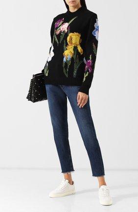 Шерстяной пуловер с декоративной отделкой Dolce & Gabbana черный   Фото №1