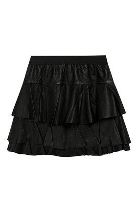 Кожаная юбка свободного кроя | Фото №1
