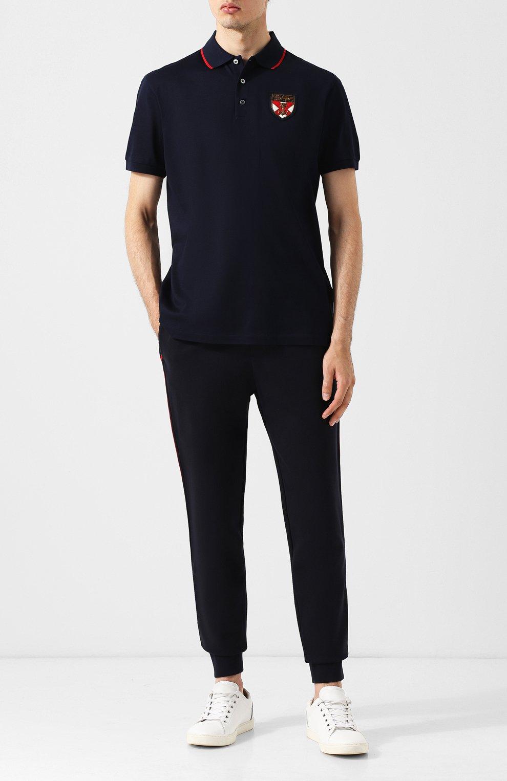 Мужское хлопковое поло с короткими рукавами RALPH LAUREN темно-синего цвета, арт. 790713357 | Фото 2