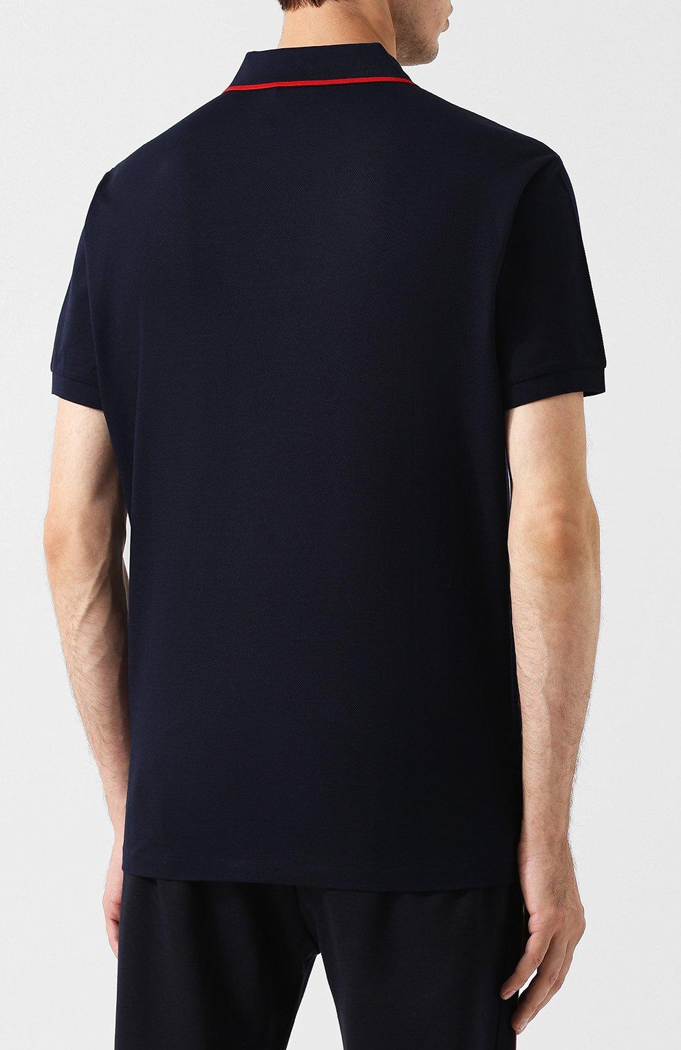 Мужское хлопковое поло с короткими рукавами RALPH LAUREN темно-синего цвета, арт. 790713357 | Фото 4