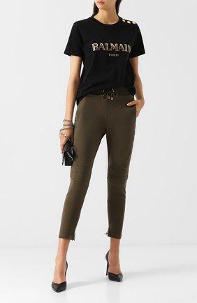 Укороченные хлопковые брюки с карманами Balmain хаки   Фото №1