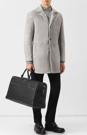Кожаная дорожная сумка Cachemire на молнии с плечевым ремнем Serapian черная | Фото №1