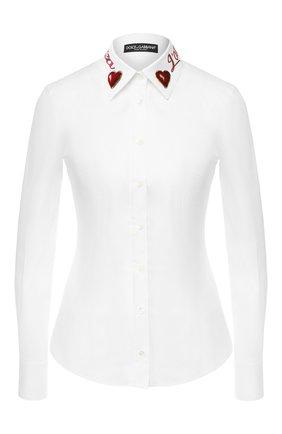 Женская хлопковая блуза с принтом на воротнике Dolce & Gabbana, цвет белый, арт. F5J56Z/GD02T в ЦУМ   Фото №1