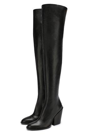 Кожаные ботфорты на устойчивом каблуке A.F.Vandevorst черные | Фото №1