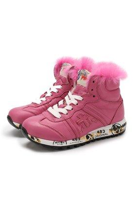Детские кожаные высокие кроссовки с внутренней меховой отделкой Premiata will be розового цвета | Фото №1