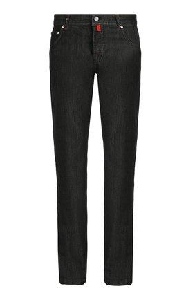 Мужские джинсы прямого кроя KITON черного цвета, арт. UPNJS1/J02R55 | Фото 1