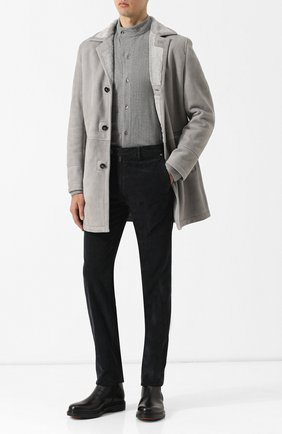 Мужская рубашка из вискозы с воротником мандарин GIORGIO ARMANI светло-серого цвета, арт. 8WGCCZ0D/JZ039 | Фото 2