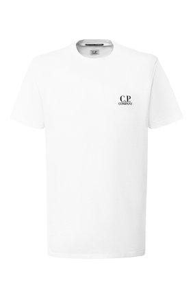 Хлопковая футболка с принтом C.P. Company белая | Фото №1