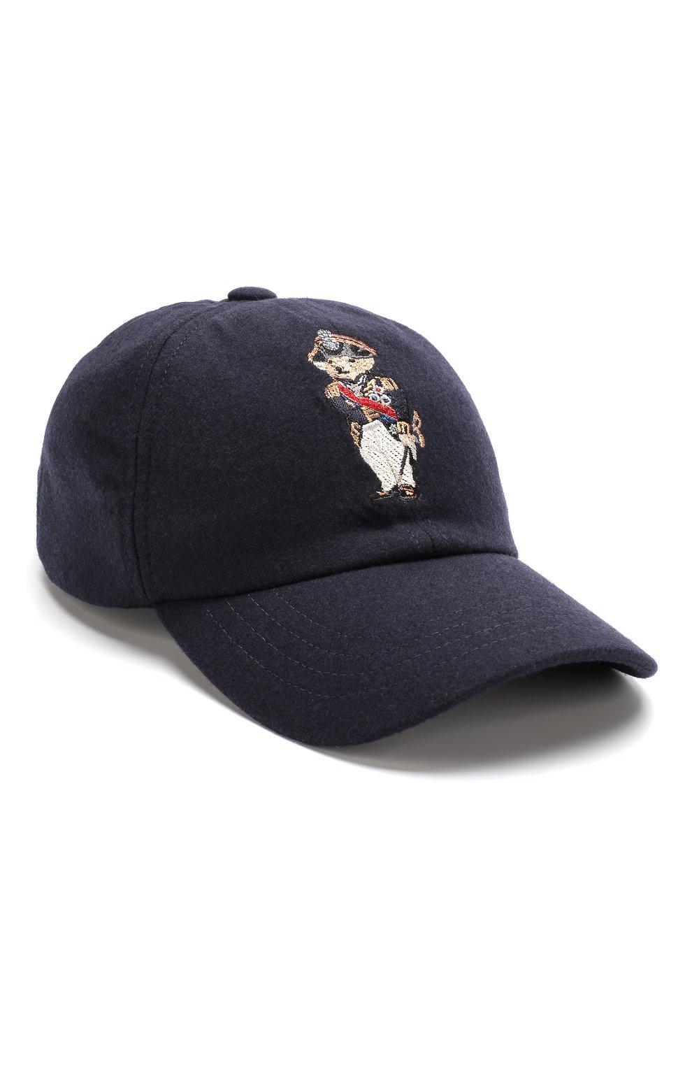 Мужской шерстяная бейсболка с вышивкой RALPH LAUREN темно-синего цвета, арт. 790728203 | Фото 1