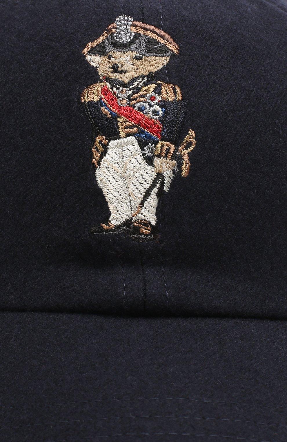 Мужской шерстяная бейсболка с вышивкой RALPH LAUREN темно-синего цвета, арт. 790728203 | Фото 3
