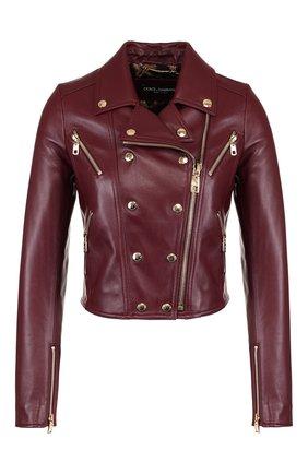 Укороченная кожаная куртка Dolce & Gabbana бордовая   Фото №1
