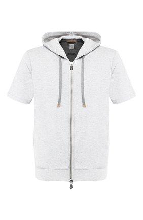 Хлопковый кардиган с короткими рукавами и капюшоном Eleventy Platinum светло-серый | Фото №1