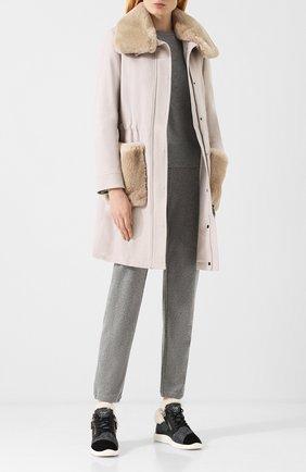 Шерстяное пальто с меховой отделкой Eleventy Platinum темно-бежевого цвета | Фото №1