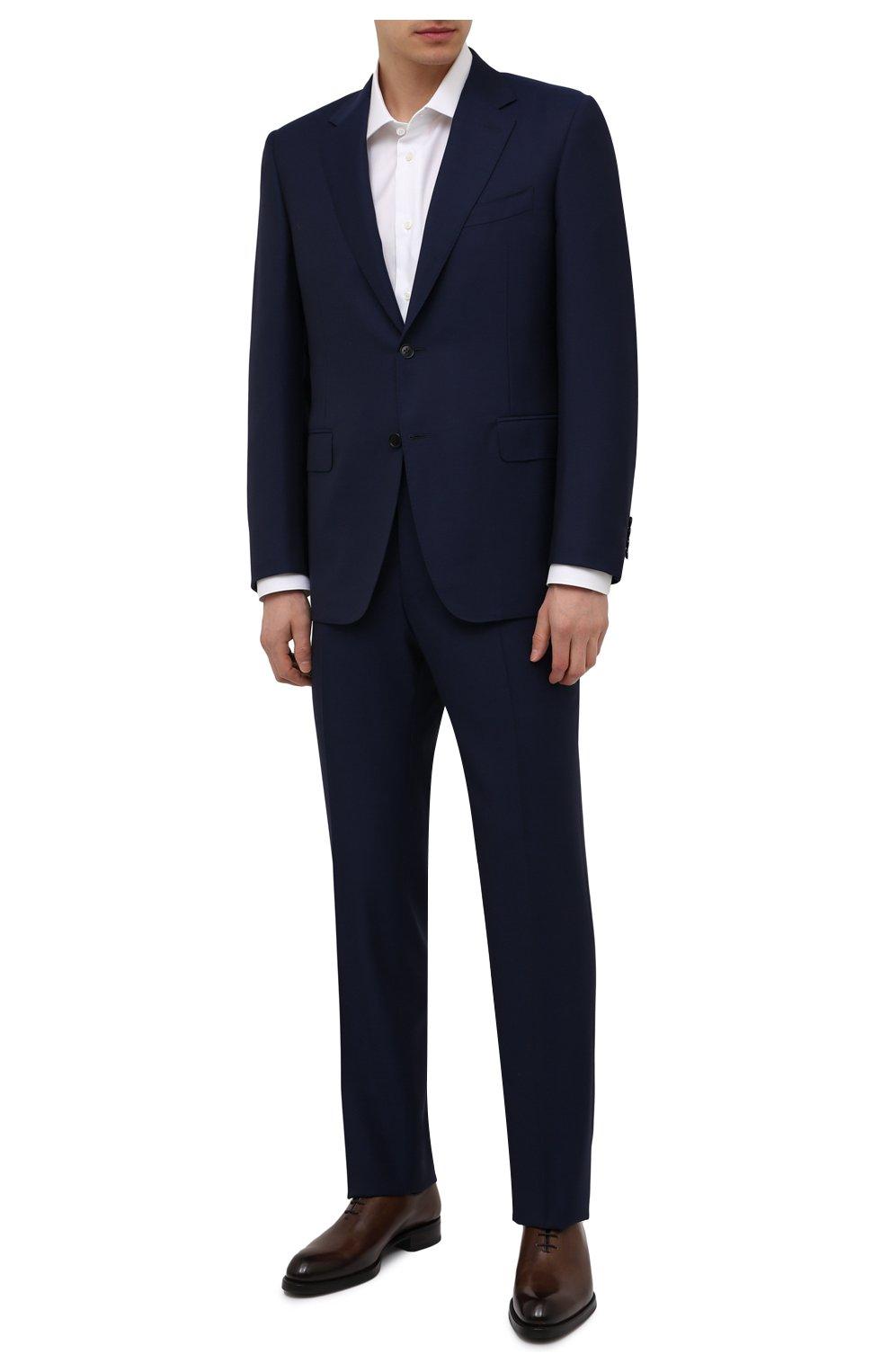 Мужской шерстяной костюм CANALI синего цвета, арт. 11280/10/AA00099   Фото 1 (Материал внешний: Шерсть; Рукава: Длинные; Big photo: Big photo; Костюмы М: Однобортный; Стили: Классический; Материал подклада: Купро; Статус проверки: Проверена категория)