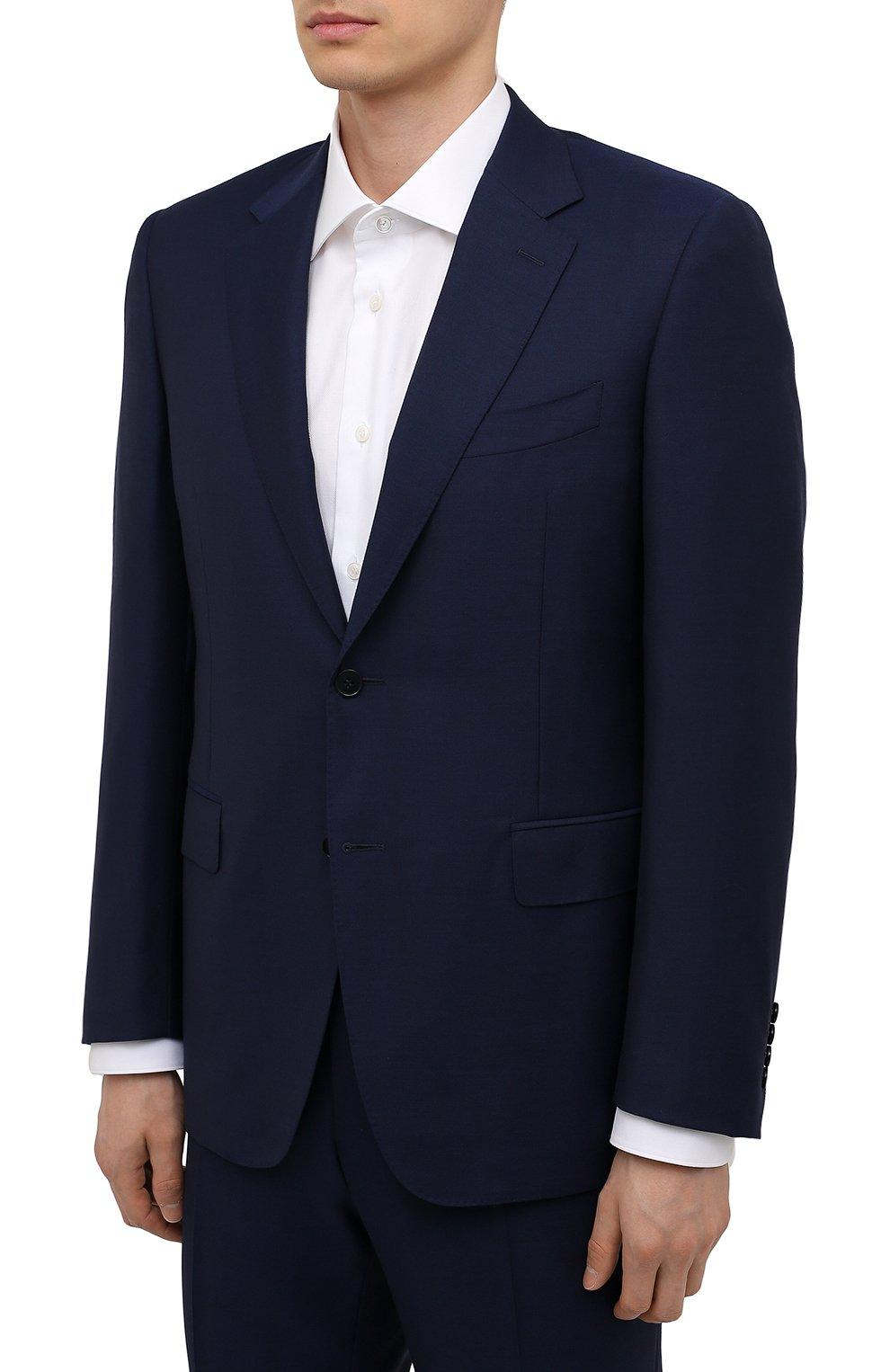 Мужской шерстяной костюм CANALI синего цвета, арт. 11280/10/AA00099   Фото 2 (Материал внешний: Шерсть; Рукава: Длинные; Big photo: Big photo; Костюмы М: Однобортный; Стили: Классический; Материал подклада: Купро; Статус проверки: Проверена категория)