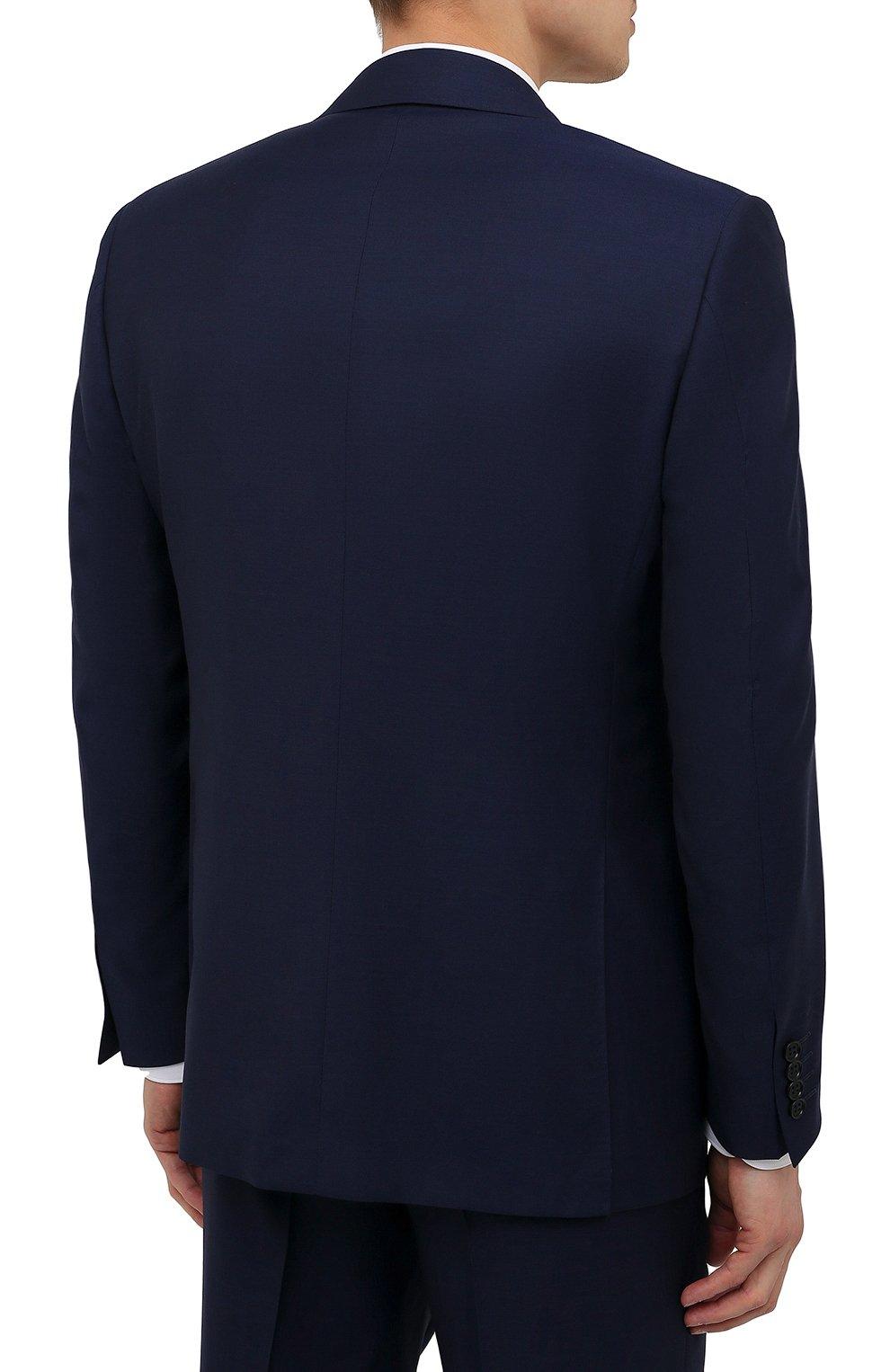 Мужской шерстяной костюм CANALI синего цвета, арт. 11280/10/AA00099   Фото 3 (Материал внешний: Шерсть; Рукава: Длинные; Big photo: Big photo; Костюмы М: Однобортный; Стили: Классический; Материал подклада: Купро; Статус проверки: Проверена категория)