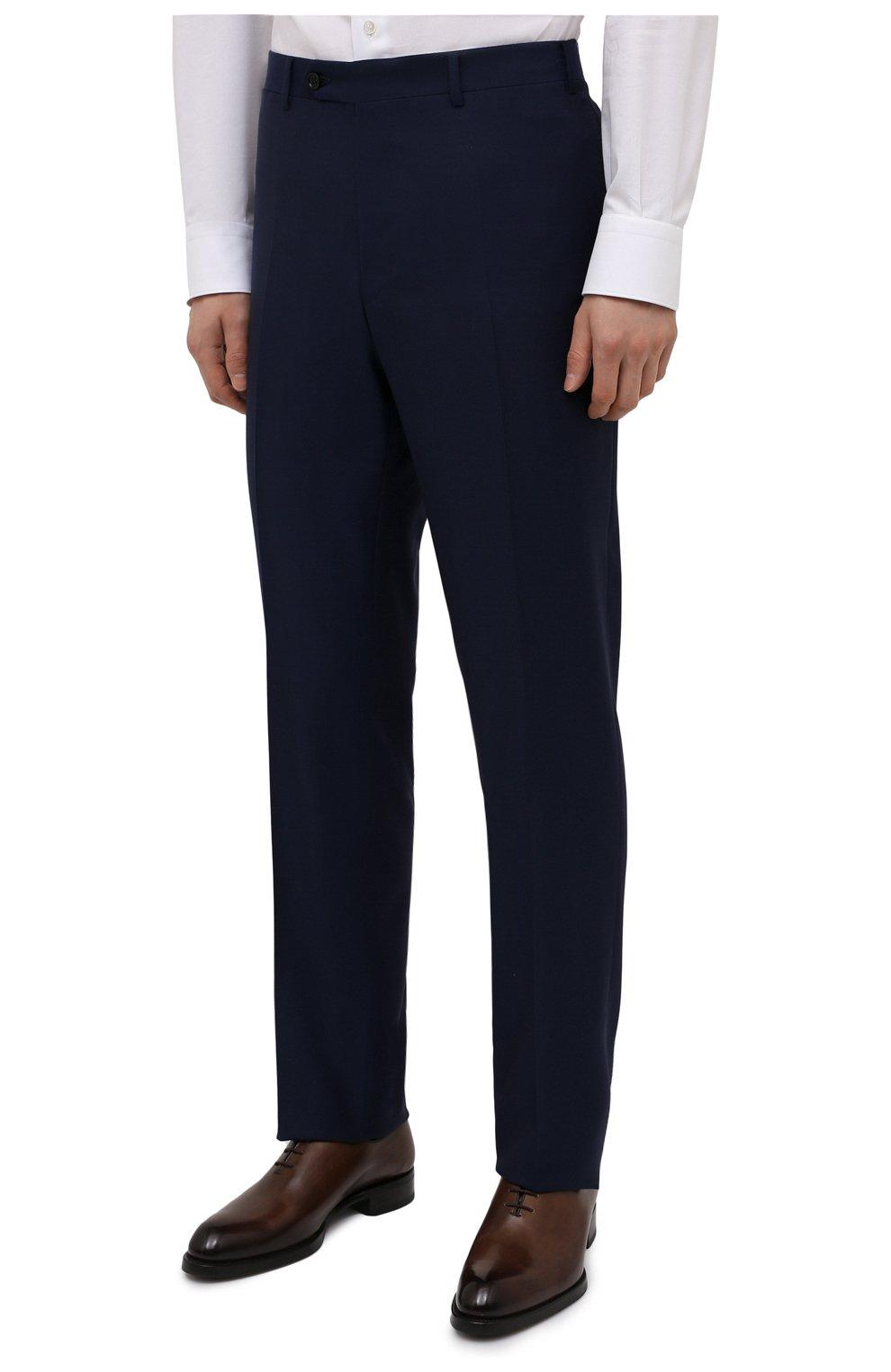Мужской шерстяной костюм CANALI синего цвета, арт. 11280/10/AA00099   Фото 4 (Материал внешний: Шерсть; Рукава: Длинные; Big photo: Big photo; Костюмы М: Однобортный; Стили: Классический; Материал подклада: Купро; Статус проверки: Проверена категория)