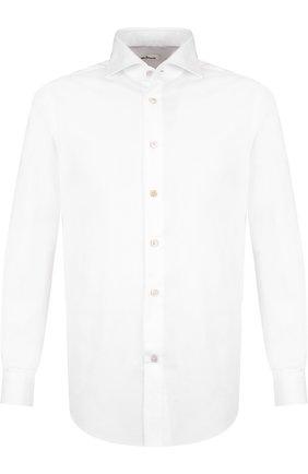 Мужская сорочка из смеси шерсти и кашемира с воротником акула KITON белого цвета, арт. UCIH0003701 | Фото 1