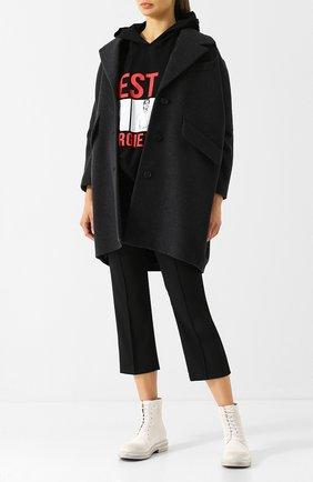 Шерстяное пальто с отложным воротником Mm6 серого цвета   Фото №1
