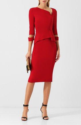 Приталенное платье-миди с оборкой Roland Mouret красное   Фото №1