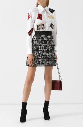 Вязаная мини-юбка с бахромой Dolce & Gabbana черно-белая   Фото №1