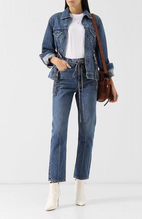 Джинсовая куртка с потертостями Proenza Schouler голубая | Фото №1