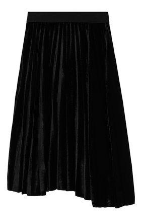 Плиссированная юбки-миди из бархата | Фото №1