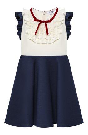 Платье из вискозы с оборками и бантом   Фото №1