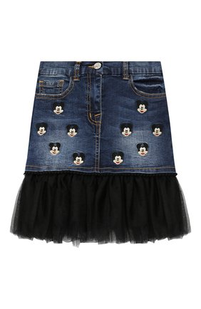 Джинсовая юбка с отделкой и вышивкой | Фото №1
