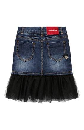 Детская джинсовая юбка с отделкой и вышивкой Monnalisa синего цвета | Фото №2