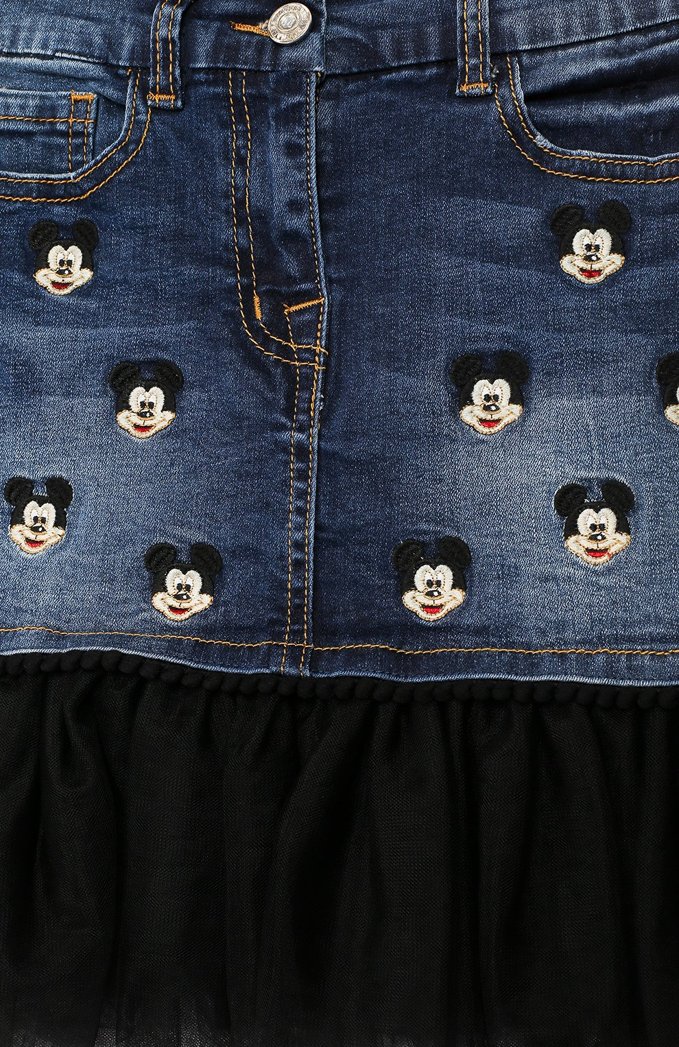 Детская джинсовая юбка с отделкой и вышивкой Monnalisa синего цвета | Фото №3