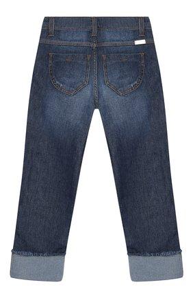 Детские джинсы с декором и отворотами Ermanno Scervino синего цвета | Фото №1