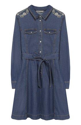 Детское платье-рубашка с поясом и декором Ermanno Scervino синего цвета | Фото №1