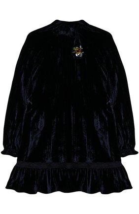 Детское бархатное мини-платье с декором Ermanno Scervino синего цвета | Фото №1