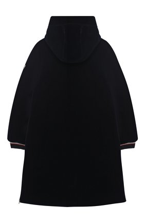 Пальто на молнии с капюшоном и текстильной отделкой  Ermanno Scervino синего цвета | Фото №1