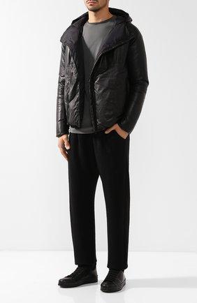 Пуховая кожаная куртка на косой молнии Giorgio Brato черная | Фото №1