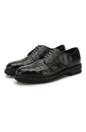 Дерби из кожи каймана на шнуровке H`D`S`N Baracco черные   Фото №1