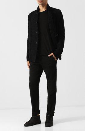 Хлопковые брюки прямого кроя Transit черные | Фото №1