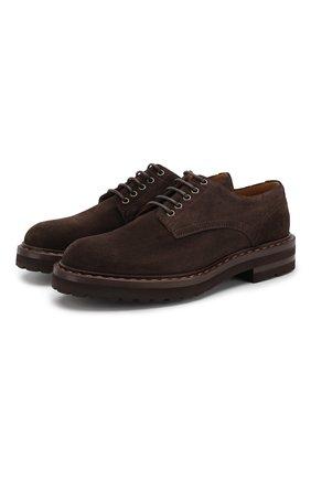Замшевые дерби на шнуровке H`D`S`N Baracco темно-коричневые   Фото №1