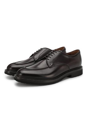Кожаные дерби на шнуровке W.Gibbs бордовые | Фото №1