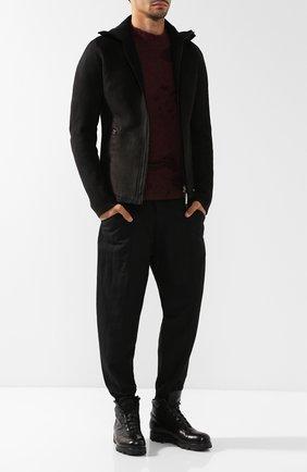 Кожаная куртка на молнии с воротником-стойкой Isaac Sellam черная | Фото №1