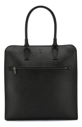 Кожаная сумка-шоппер Evoluzione Serapian черная | Фото №1