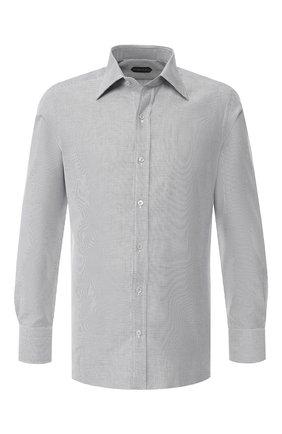 Мужская хлопковая сорочка с воротником кент TOM FORD черно-белого цвета, арт. 4FT611/94S1JE | Фото 1