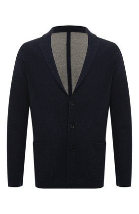 Мужской однобортный пиджак из смеси кашемира и шелка LORO PIANA темно-синего цвета, арт. FAG3713 | Фото 1