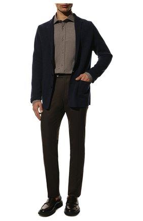 Мужской однобортный пиджак из смеси кашемира и шелка LORO PIANA темно-синего цвета, арт. FAG3713   Фото 2