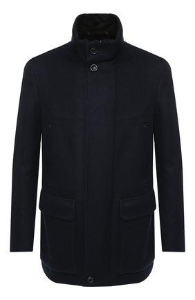 Мужская кашемировая куртка на молнии с воротником-стойкой ZEGNA COUTURE темно-синего цвета, арт. CRC40/4R107 | Фото 1
