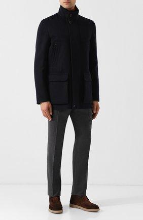 Мужская кашемировая куртка на молнии с воротником-стойкой ZEGNA COUTURE темно-синего цвета, арт. CRC40/4R107 | Фото 2